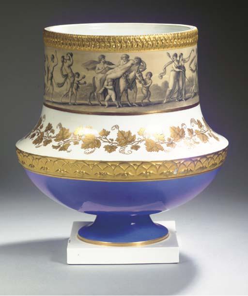 A rare large Berlin KPM gilt mythological 'Pompeian' cachepot