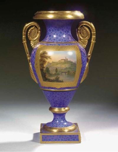 A Gotha porcelain gilt two-han