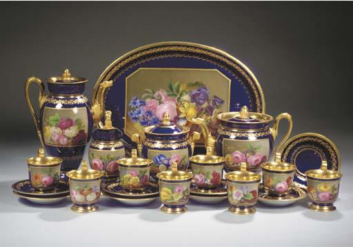 (24)  A Meissen gilt botanical coffee and tea service