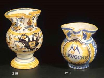 A small Flemish maiolica jug