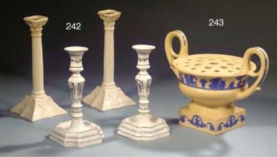 Two pairs of English creamware