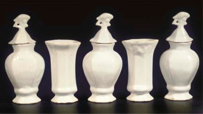(8) A white Delftware hexagona