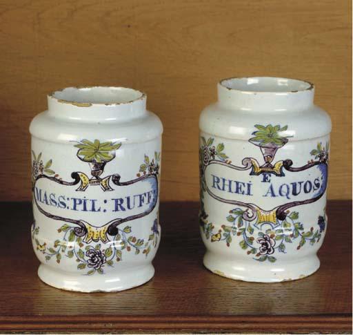 A set of two small Dutch Delft polychrome albarelli