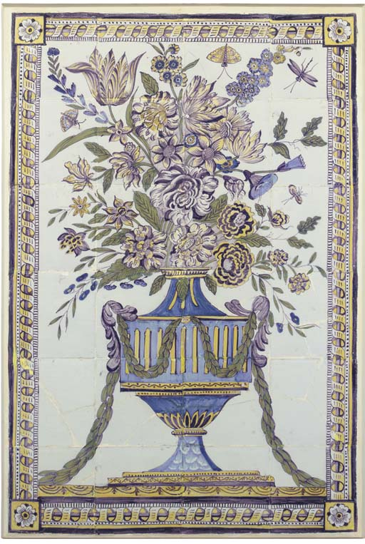 A Dutch polychrome rectangular flowervase tile picture