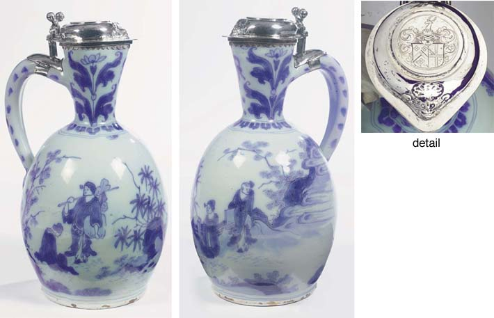 A Dutch Delft blue and white silver-mounted chinoiserie ovoid single-handled jug