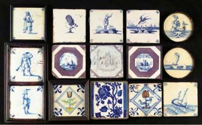 Fifteen various Dutch tiles