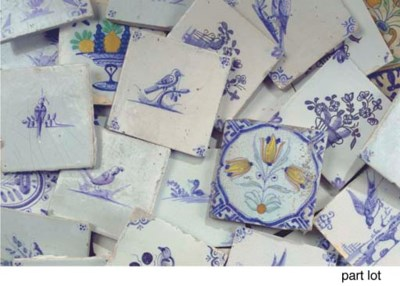 Forty-five various Dutch tiles