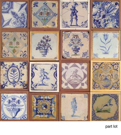 Forty-four various Dutch tiles
