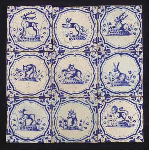 A series of nine Dutch blue and white animal tiles