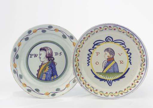 Two Dutch Delft polychrome orangist portrait plates