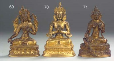 Three Tibetan bronzes depictin