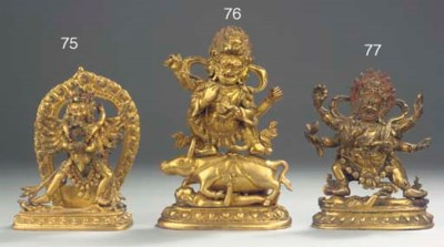 A Tibeto Chinese gilt-bronze f