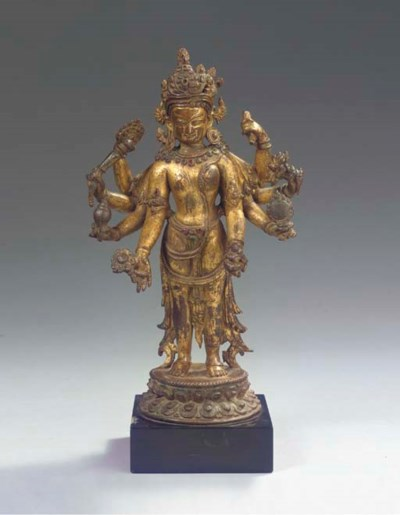 A fine Nepalese gilt-copper fi