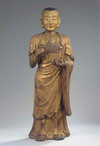 A Tibeto Chinese gilt-wood fig