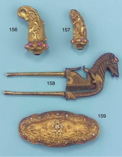 A Balinese gold inlaid iron pa