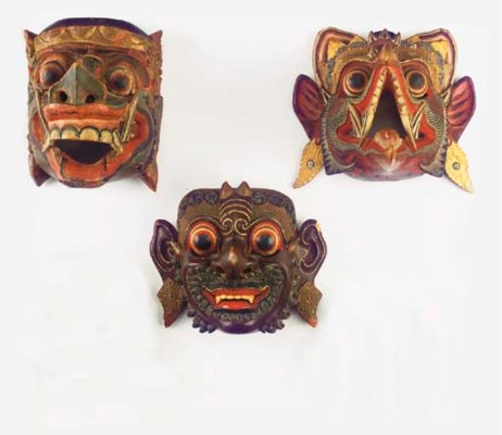 Four polychrome Balinese wood