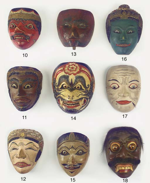 Five Javanese wood masks