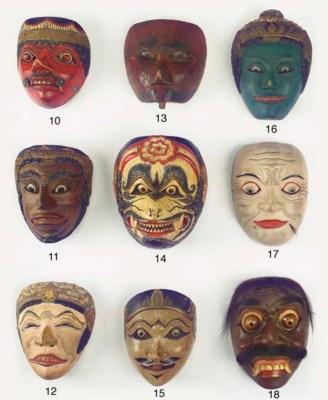 Five Javanese wood masks