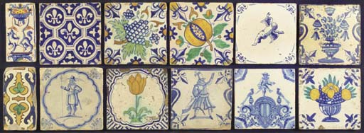 Twelve various Dutch tiles