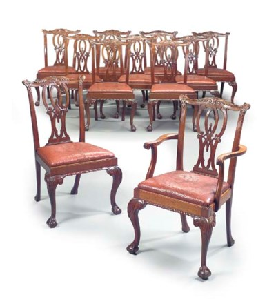 A SET OF ELEVEN MAHOGANY DININ