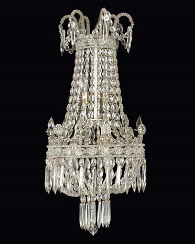 A CUT-GLASS CHANDELIER
