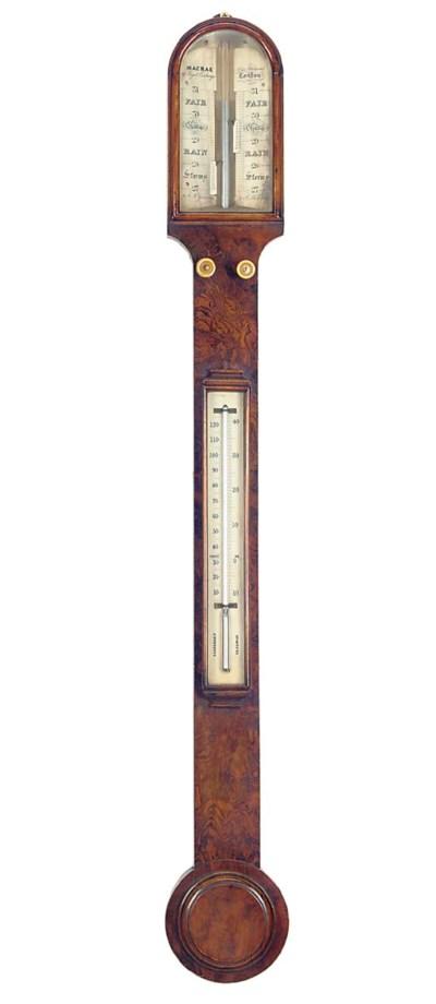 A Victorian burr-walnut stick