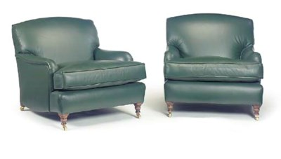 A PAIR OF GREEN LEATHER UPHOLS