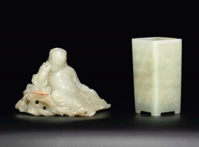 A CELADON JADE FIGURE OF GUAND