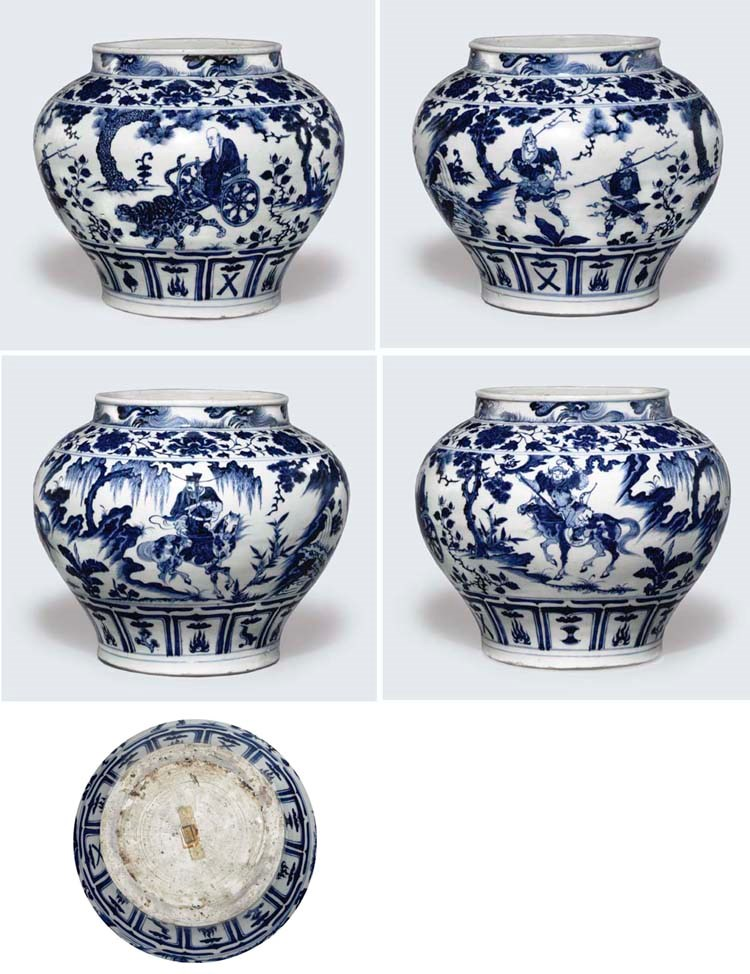 An exceptionally rare and important blue and white jar, guan, Yuan dynasty, mid 14th century. 13  in (33  cm)  diam, wood stand, fitted box. Sold for £15,688,000 on 12 July 2005 at Christie's in London