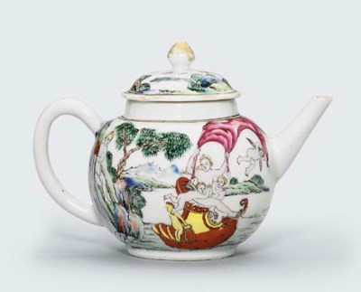 A RARE FAMILLE ROSE TEAPOT AND