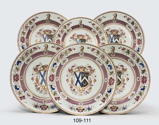 TWO FAMILLE ROSE ARMORIAL DISH