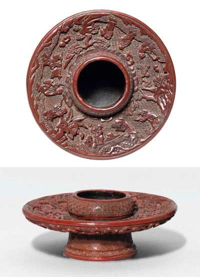 A MING CARVED CINNABAR LACQUER