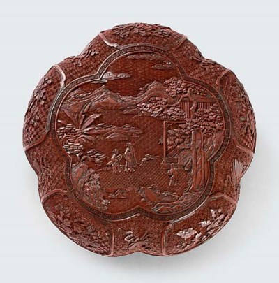 A CARVED CINNABAR LACQUER BOX