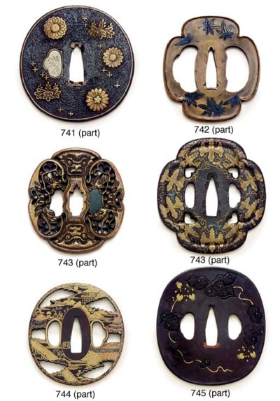 An iron ishimeji tsuba and two