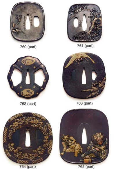 A broad oval tsuba and two oth