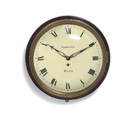 A Regency mahogany dial clock