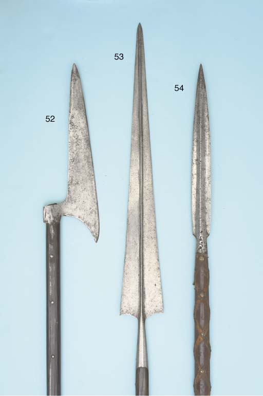 AN ITALIAN LONG MILITARY SPEAR, ALLA BOLOGNESE; AND ANOTHER, SIMILAR