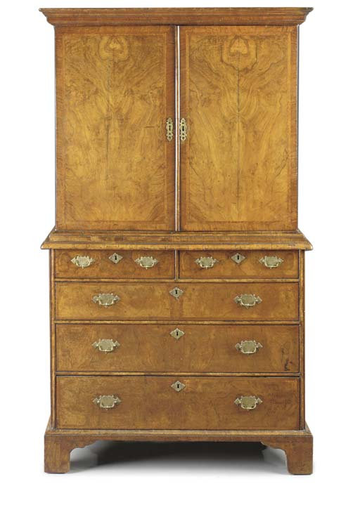 A QUEEN ANNE WALNUT CABINET-ON-CHEST