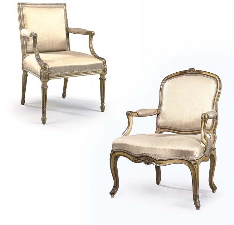 A GEORGE III GILTWOOD OPEN ARMCHAIR AND LOUIS XV YELLOW AND BROWN-PAINTED FAUTEUIL