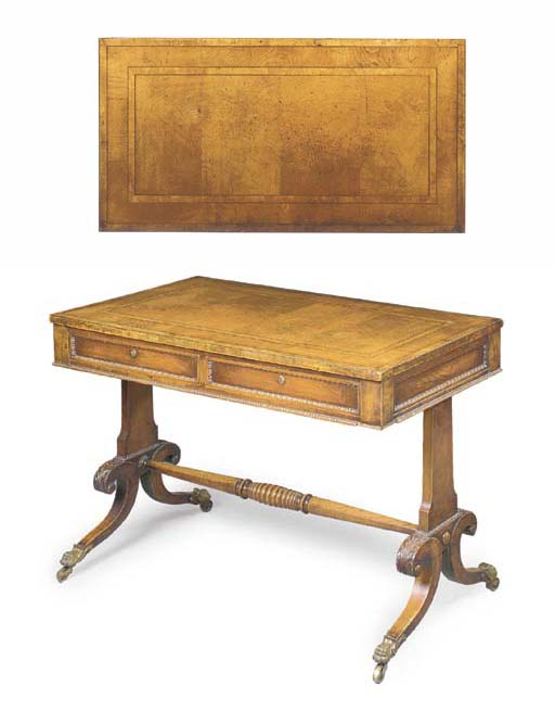 A SCOTTISH REGENCY ASH AND OAK WRITING-TABLE