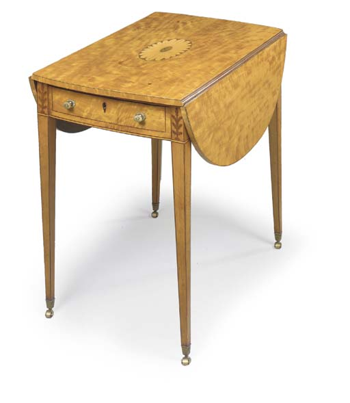 A GEORGE III SATINWOOD AND MARQUETRY PEMBROKE TABLE