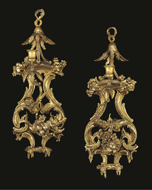 A MATCHED PAIR OF GEORGE III GILTWOOD SINGLE-LIGHT WALL LIGHTS