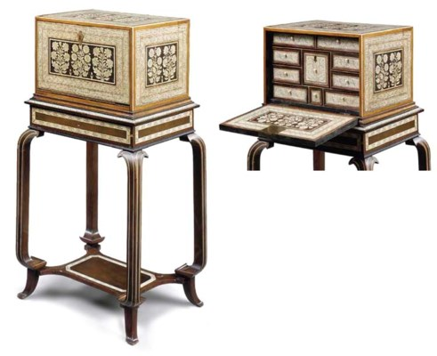 AN INDIAN IVORY-INLAID ROSEWOO