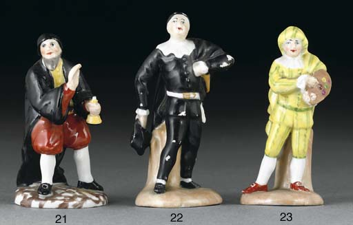A KLOSTER VEILSDORF FIGURE OF MEZZETIN DISGUISED AS A PAINTER FROM THE SMALL COMMEDIA DELL'ARTE SERIES