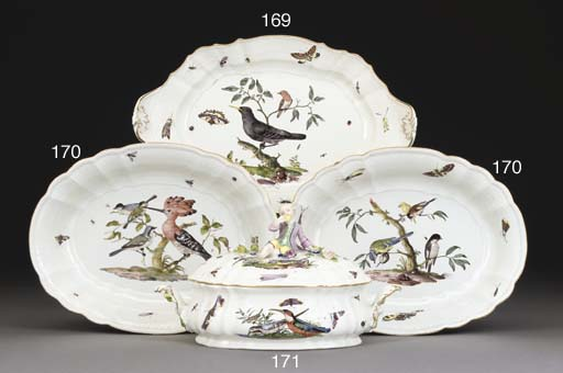 A MEISSEN SHAPED OVAL TWO-HAND