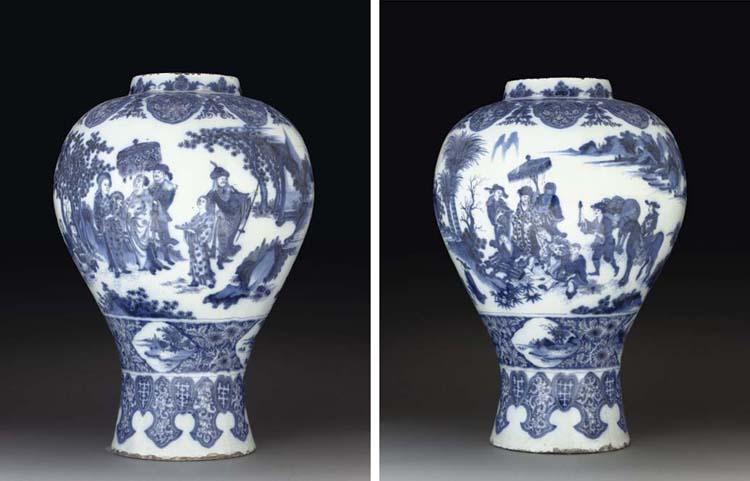 A DUTCH DELFT (DE GRIEKSCHE A) BLUE AND WHITE MASSIVE BALUSTER CHINOISERIE VASE