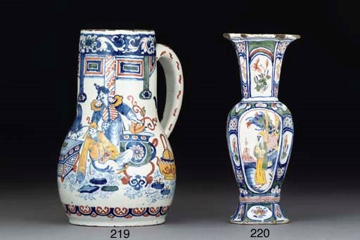 A DUTCH DELFT POLYCHROME TANKA