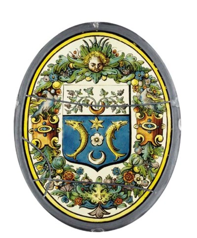A STAINED GLASS ARMORIAL OVAL