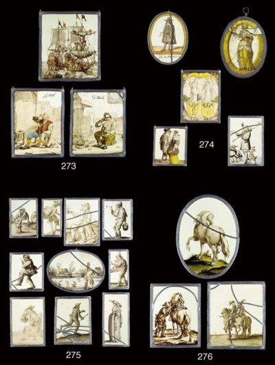 TEN VARIOUS STAINED GLASS PANE