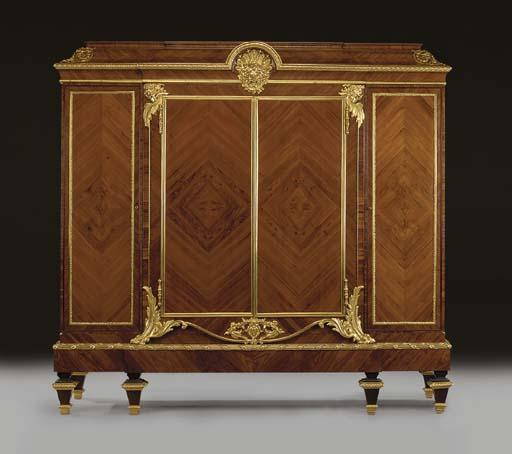 A Napoleon III ormolu-mounted kingwood and tulipwood breakfront side-cabinet